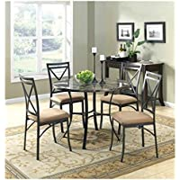 New Classic Elegant Mainstays 5-Piece Faux Marble Top Dining Set Marble Look Dining Set Chairs Table