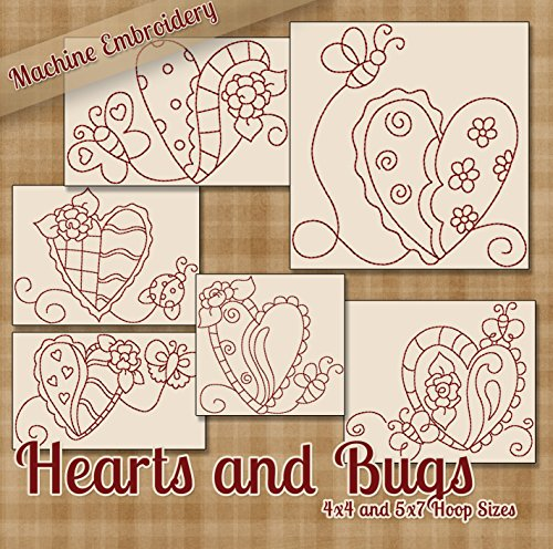 Hearts and Bugs Redwork Embroidery Machine Designs on CD - Multiformat