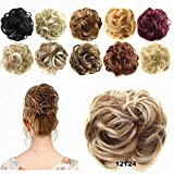 FESHFEN Updo Hairpiece Hair Ponytail Extensions Hair Extensions Scrunchy Bun Wavy Curly Messy Hair Bun Extensions Donut Hair Chignons Hair Piece Wig-12T24 Light Golden Brown & Pale Golden Blonde Ombre