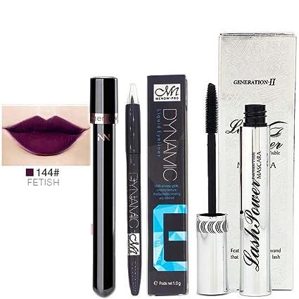 gaddrt Agua Densidad duraderas fluidos Eyeliner Pen Lip Gloss Mascara Set
