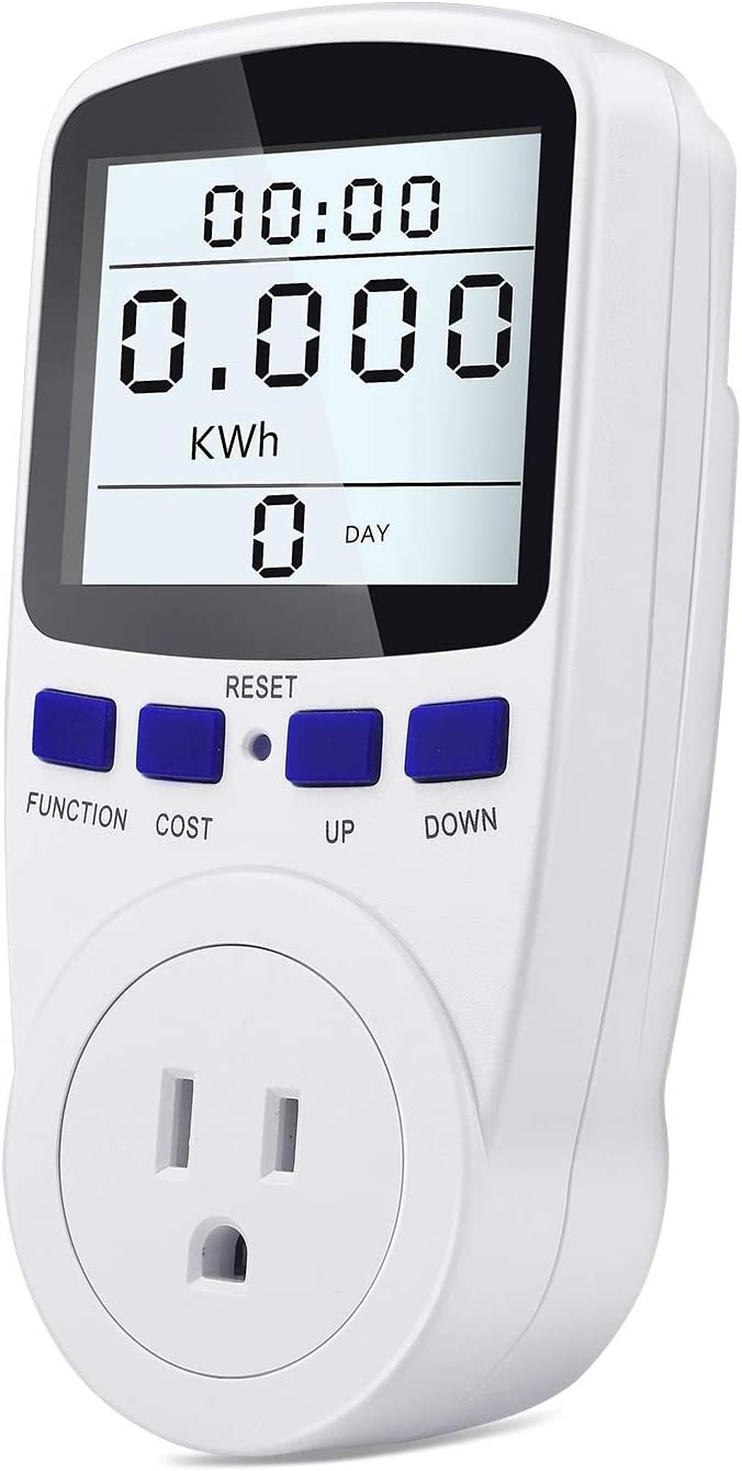 Kuman Electricity Usage Monitor Plug Power Meter Energy Watt Voltage Amps Meter with Digital LCD Display,Overload Protection and 7 Display Modes for Energy Saving (Backlight)