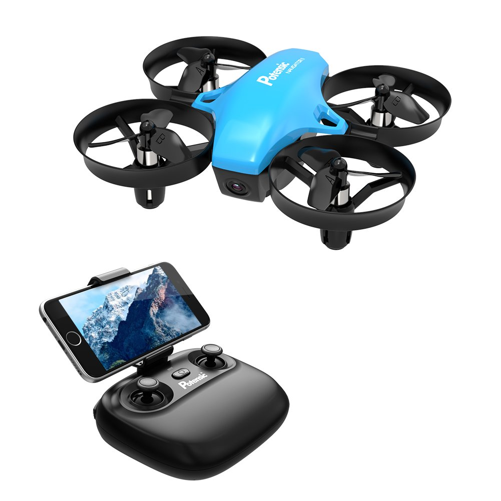 Potensic A20W Mini Drone for Kids with Camera, RC Portable Quadcopter 2.4G 6 Axis-a 6 Altitude Hold, Headless, Remote Control, Route Sett, Azure