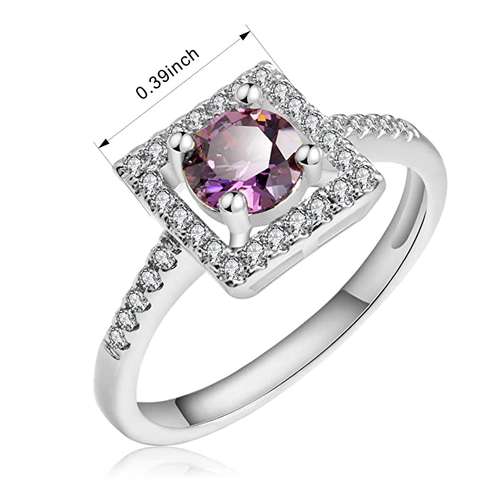 18K White Gold Plated Purple Clear Cubic Zirconia Fashion Ladies Ring UK Shop