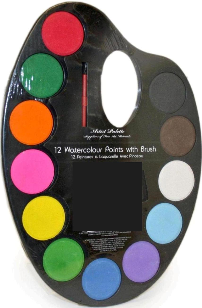 paint pallet with large water colour tablets st2023a - Colour Painting For Kids