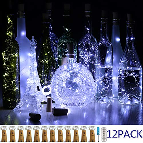 CUUCOR Cork Wine Bottle Lights,12 Pack 7ft 20 LED Wine Bottle with Lights on Copper Wire, LED Cork Lights for DIY, Wedding Centerpiece, Party, Christmas, Halloween(Cool -