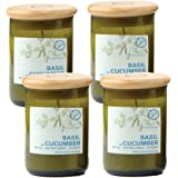 Paddywax Eco Green Recycled Glass Candle, 8-Ounce, Basil & Cucumber - Set of 4