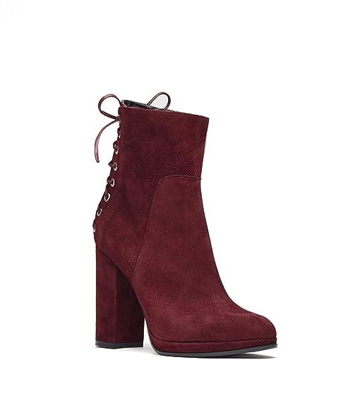Poi Lei PoiLei Fiona/Schnürer Damen-Stiefeletten/Velours-Leder High-Heels  Plateau/Elegante Damenschuhe/Bordeaux: Amazon.de: Schuhe & Handtaschen