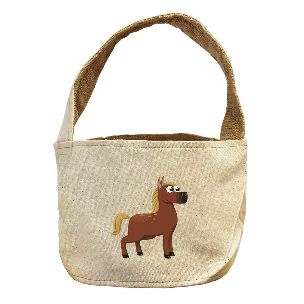 Style in Print Horse Short Animals Canvas and Burlap Storage Basket