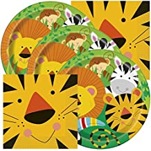 Jungle Animals Themed Birthday Party Napkins and Plates (Serves 32)
