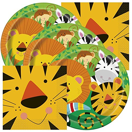 Jungle Animals Themed Birthday Party Napkins and Plates (Serves (Jungle Themed Party)