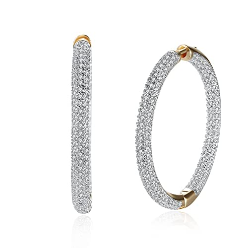 Amazon.com  Dainty 14K Gold Crystal Diamond Round Hoop Earrings for ... 6f7e70508e