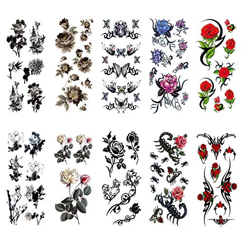 TAFLY Flower Temporary Tattoos Fake Tattoos Black Rose and Butterfly Scorpion Waterproof Tattoo Stickers-for Women & Men 10 Sheets