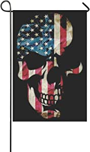 America Flag And Skull Garden Flag 12-Inch By 18-Inch