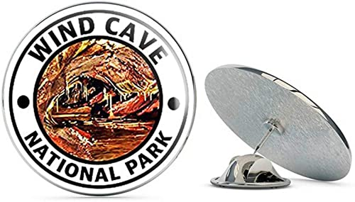 Hike Travel rv NYC Jewelers Round Wind CAVE National Park Metal 0.75 Lapel Hat Pin Tie Tack Pinback