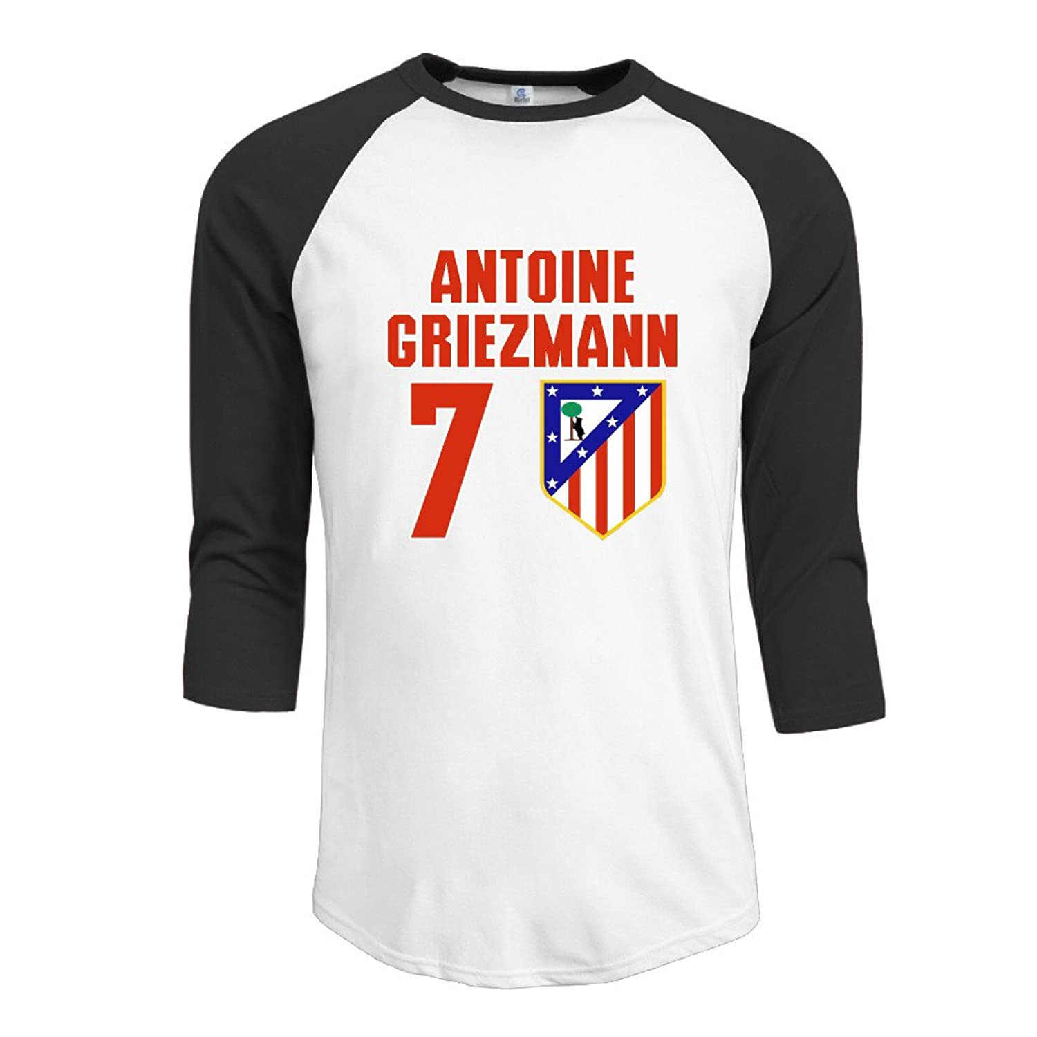 Bro-Custom Antoine #7 Griezmann Men Round Collar Raglan T-shirt Black