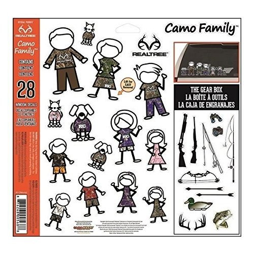 CamoWraps 28 Pack of Realtree Camo Family Decal Set with Gear Box. Package Size is 12 x 11.75 (Binoculars Shotgun)