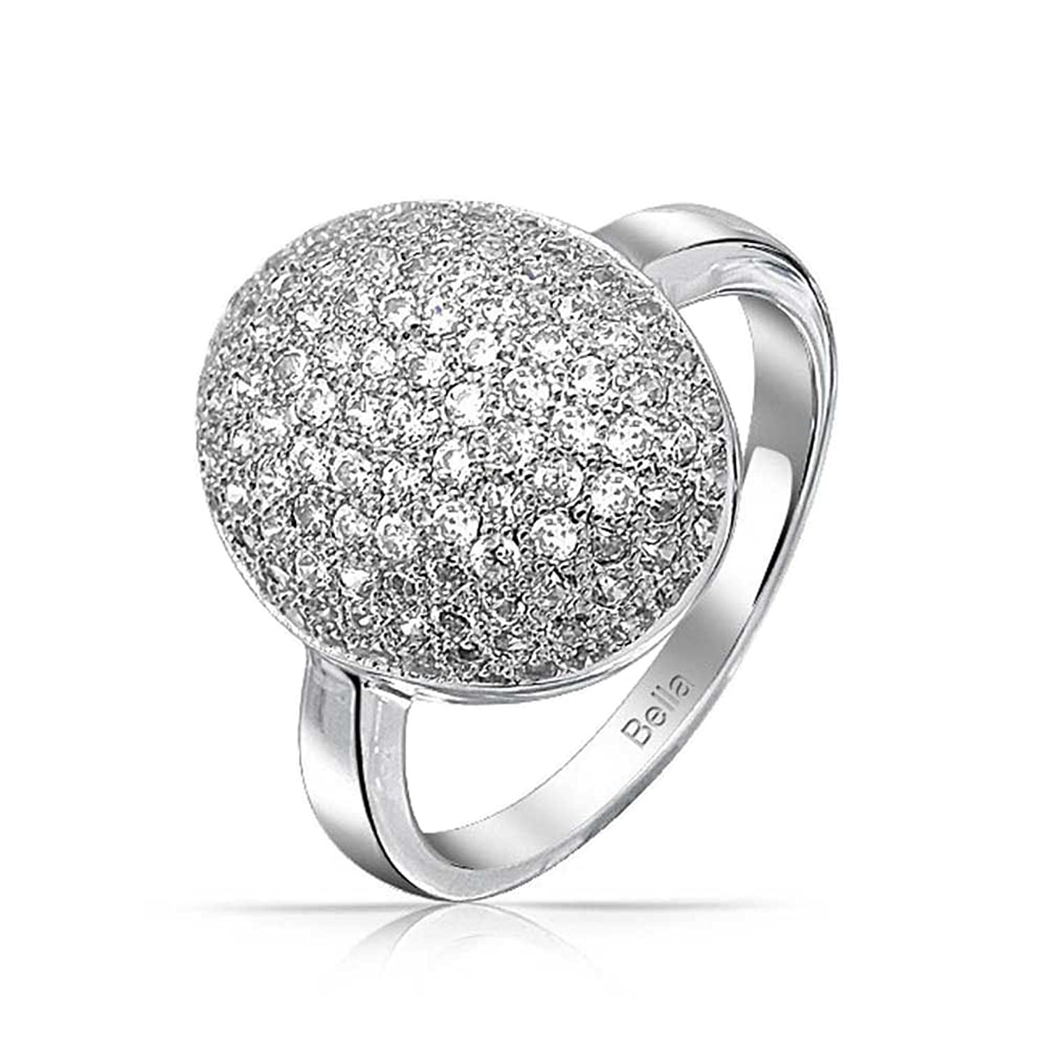 amazoncom bling jewelry pave oval cz sparkle engagement ring rhodium plated brass bella s engagement ring jewelry - Twilight Wedding Ring