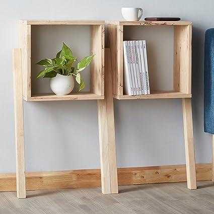 QIANGDA Bookshelf 2 Pieces Set Oak Bookrack Multifunction Flower Shelf Commodity 435 X 200