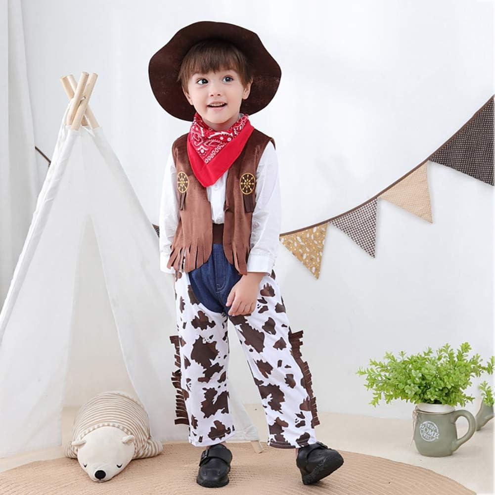 Miyanuby Vestiti dei Maschietti del Bambino Cowboy Cosplay Party Costume 4 Pezzi Pantaloni Set di Vestiti Costume Fantasia per Neonati