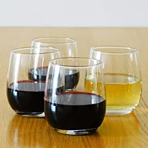 12 Ounce Stemless Wine Glasses / Whiskey Glasses / Beverage Glasses, Set of 4 Great For Drinking Wine, Whiskey or Juice, Versatile Glass Cups / Glassware Sets / Glass Tumblers