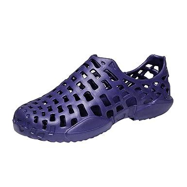 YiYLunneo Malla Sandalias de Aire Libre y Deportes Mujer Chanclas de Hueco Zapatos Planos Verano Hombre Ahueca hacia Fuera Playa Zapatillas 36-45: ...