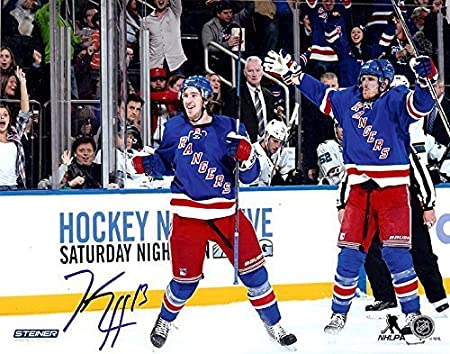 Goal New York Rangers Kevin Hayes Autographed 8x10 Photograph