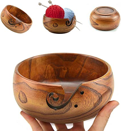 Handmade Natural Wood Craft Knitting Yarn Bowls with Holes Storage Gift for Knitting and Crochetin Nirvana Class Wooden Yarn Bowl