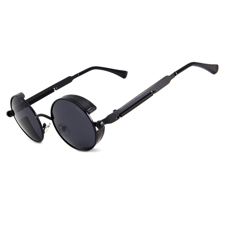 Ronsou Steampunk Style Round Vintage Polarized Sunglasses Retro Eyewear UV400 Protection Matel Frame black frame/gray lens by RONSOU