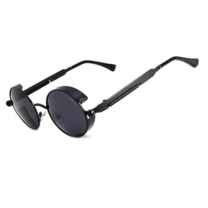 467e70b28 Ronsou Steampunk Style Round Vintage Polarized Sunglasses Retro Eyewear  UV400 Protection Matel Frame black frame/