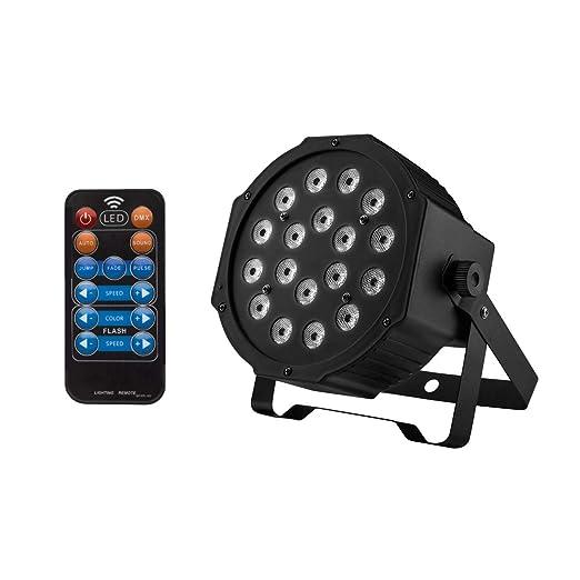 GUSODOR Luz de Escenario DMX-512 RGB Par LED Luz del Disco con 18 ...
