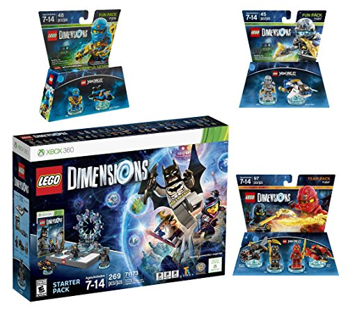Lego Dimensions Starter Pack + Ninjago Team Pack + Jay Fun Pack + Zane Fun Packs for Xbox 360 Console by WB Lego
