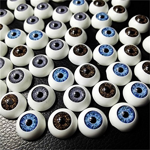 60pcs 16mm Plastic Safety Eyes Half Round Acrylic Doll Bear Craft Hollow Realistic Eyeballs Toys Making Halloween Horror -