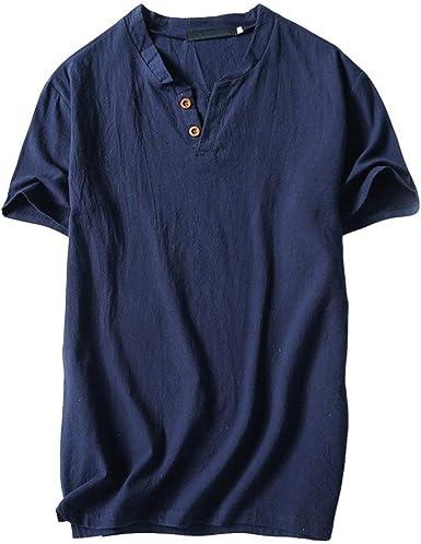 Blusa De Yoga De Festiva Algodón Sólido Lino Ropa De para Hombre Camiseta De Verano De