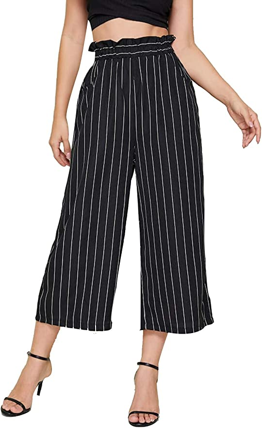 Top Fashion18 Womens Wide Leg Multi Striped Print Stretch High Waisted Culottes Ladies Shorts UK Size 12-30