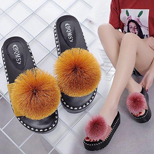 Spesso Yellow Di Nuovo sandals Estate Pantofole Fondo Stile In qnBwwxv