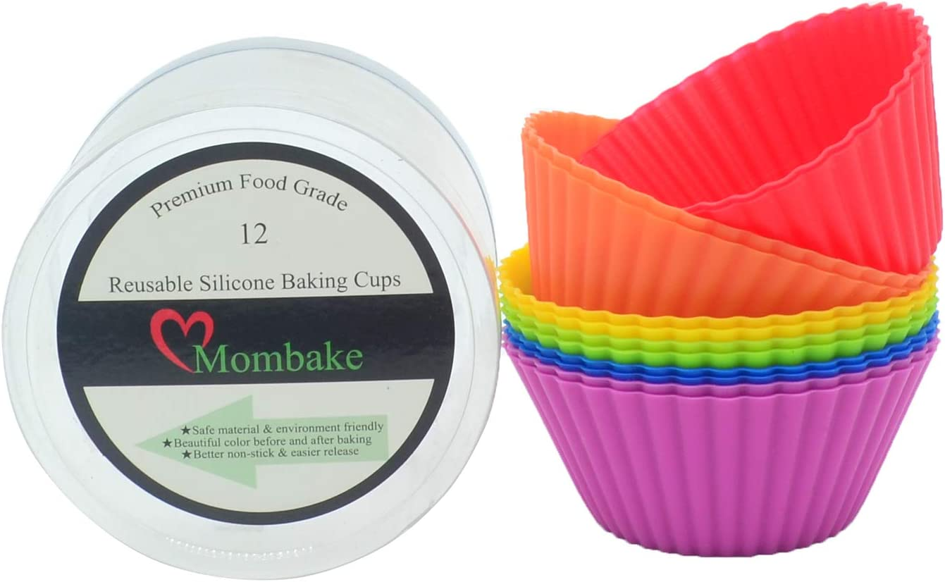 Mombake Standard Rainbow Food Grade Reusable Silicone Cupcake Liners/Baking Cups BPA Free, 12-Count