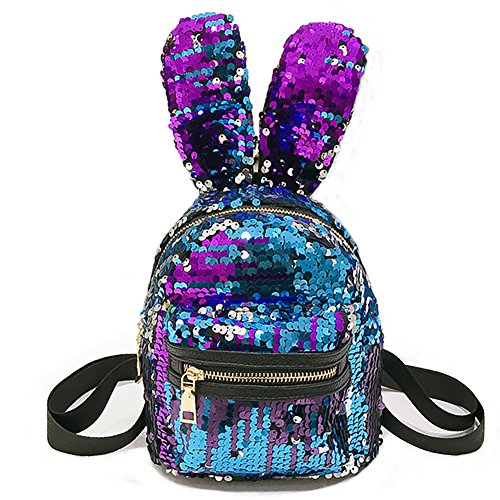 Ibeauti Toddler Kids Backpack Purse Bling Bunny Sequins Backpack for Girls Boys Preschool Bag (Blue Bunny) (Bunny Sequin)