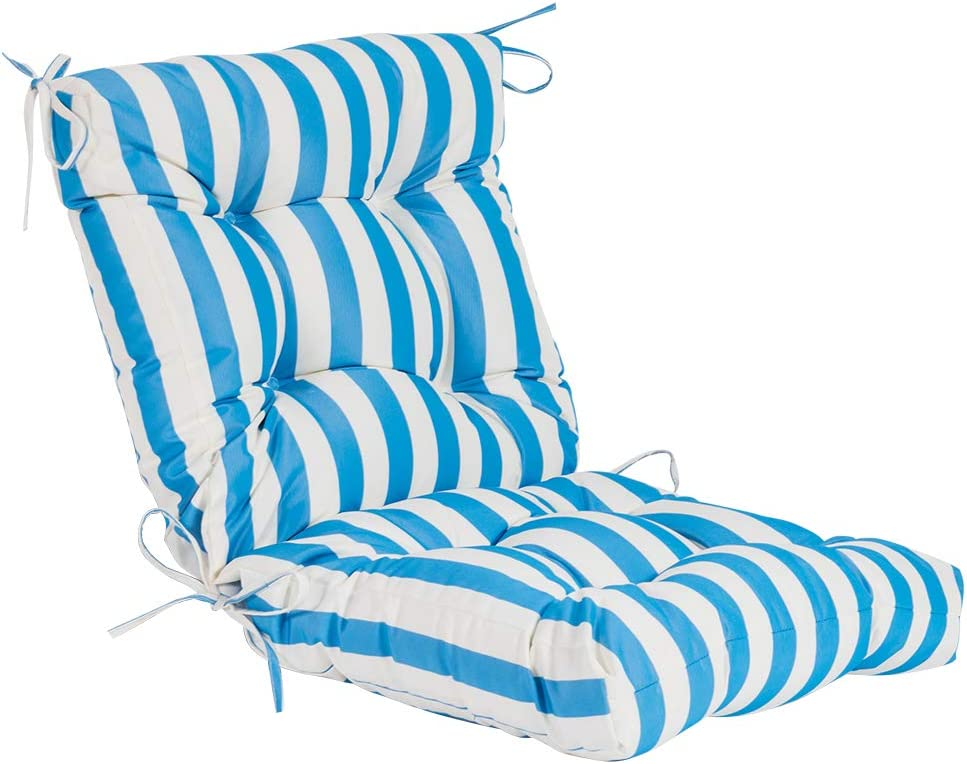 QILLOWAY Outdoor Seat/Back Chair Cushion Tufted Pillow , Spring/Summer Seasonal All Weather Replacement Cushions. (Blue&White Stripe)