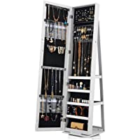 Jewellery Cabinet Standing Lockable Armoire 360 Rotatable Full Length Mirror Makeup Storage Organizer
