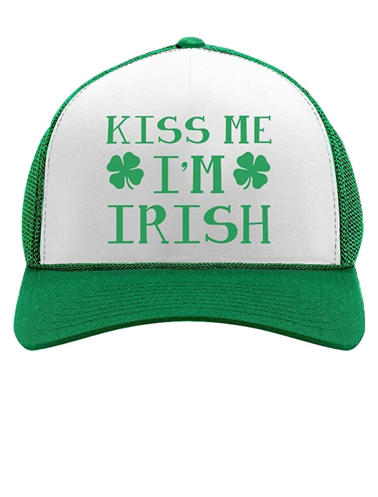 2ba0af26f29 Kiss Me I m Irish - St.Patrick s Gift Irish Clovers Party Trucker Hat Mesh  Cap One Size Black White at Amazon Women s Clothing store