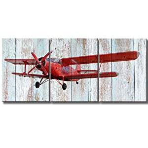 """KLVOS - Modern 3 Piece Wall Art Elderly Propeller Plane Light Blue Wooden Background Prints Retro Aircraft Picture Home Wall Decor Framed for Living Room Ready to Hang 12""""x16""""x3"""