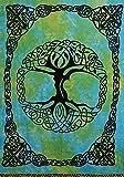 Handmade Tie Dye Celtic Tree of life Cotton Tapestry Bedspread Beach Sheet Dorm Decor Twin 70'' x 104'' Green Blue