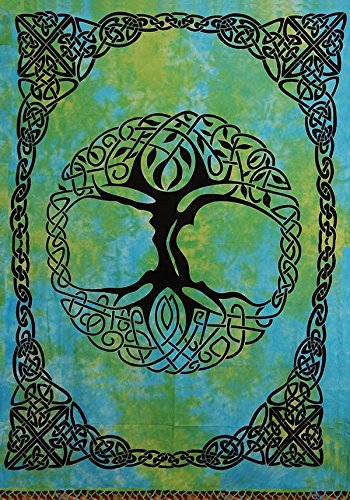 Handmade Tie Dye Celtic Tree of life Cotton Tapestry Bedspread Beach Sheet Dorm Decor Twin 70'' x 104'' Green Blue by India Arts