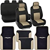 PolyCloth Car Seat Covers Black Beige Tan Two Tone Classic Vinyl Trim PU