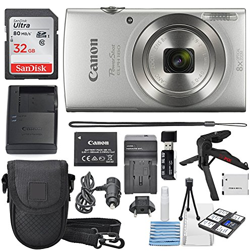 Travel Camera Digital - Canon PowerShot ELPH 180 Digital Camera (Silver) + 32GB SDHC Memory Card + Flexible tripod + AC/DC Turbo Travel Charger + Replacement battery + Protective camera case with Deluxe Bundle