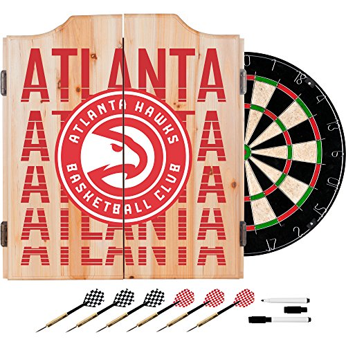 Trademark Gameroom NBA7010-AH3 NBA Dart Cabinet Set with Darts & Board - City - Atlanta Hawks by Trademark Global