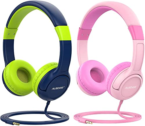 AUSDOM K1 Kids Headphones for Girls Boys, 3.5mm Jack Wired Headphones for Kids Teens On-Ear with Limited Volume, Adjustable Band, Children Friendly Material for School Tablet Kindle iPad PC-2 Pack