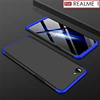 WOW Imagine 3 in 1 Double Dip Case Anti Slip Hybrid PC All Angle Protection Matte Hard Back Cover for OPPO Realme 1(Black with Blue)
