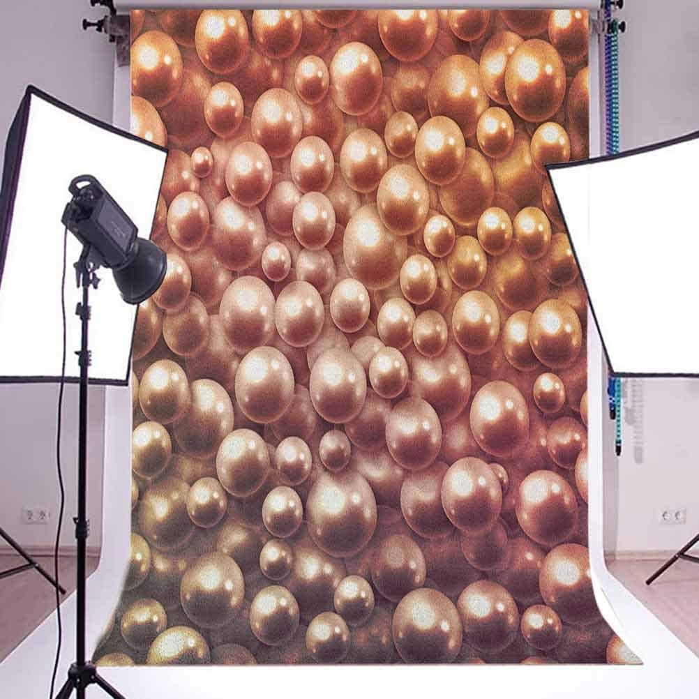 7x10 FT Pearls Vinyl Photography Backdrop,Various Size Mixed Rare Nacreous Pearls Gemstone Oyster Concept Golden Ombre Pattern Background for Baby Birthday Party Wedding Studio Props Photography
