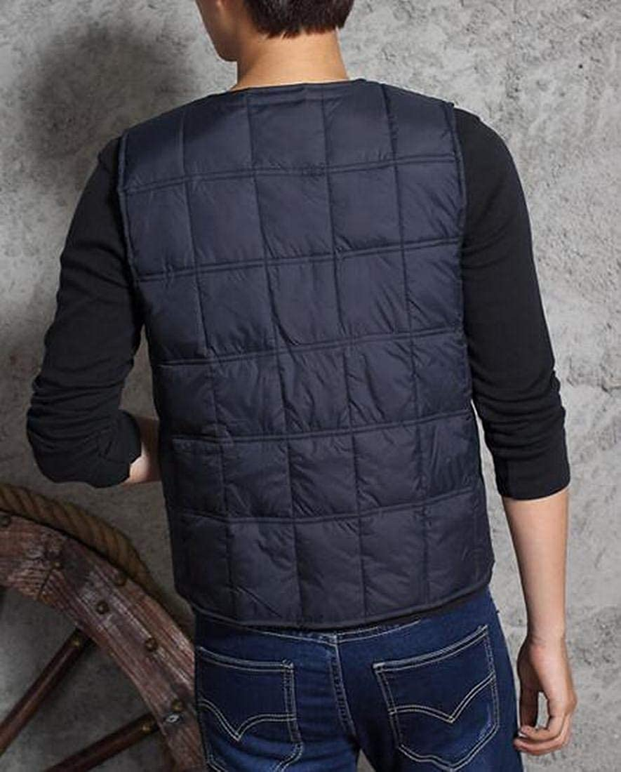 CRYYU Men Warm Thicken V-Neck Slim Quilted Winter Down Vest